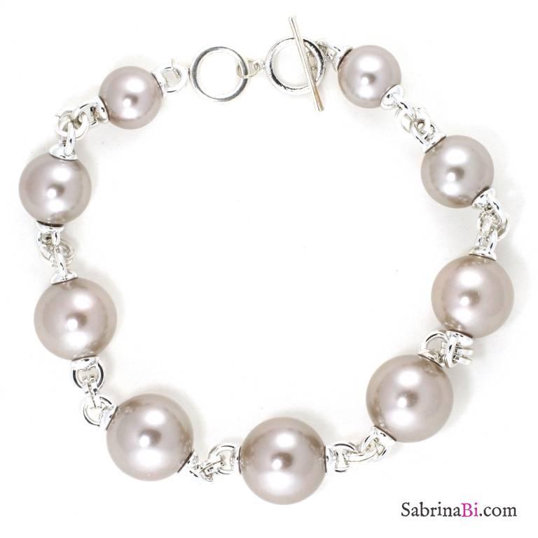 Collana girocollo con maxi perle grigie