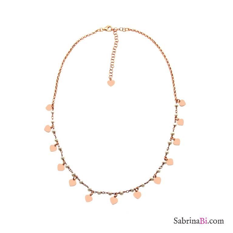 Collana girocollo doppia catena argento 925 oro rosa perle e Cuori