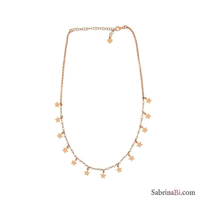 Collana girocollo doppia catena argento 925 oro rosa perle e Stelle