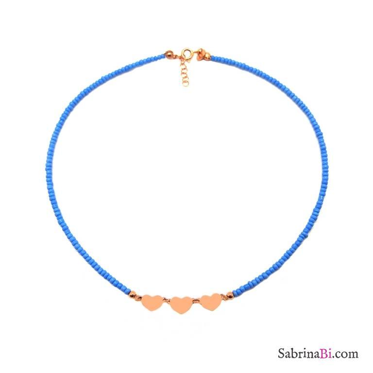 Collana girocollo micro perline vetro turchesi 3 cuori