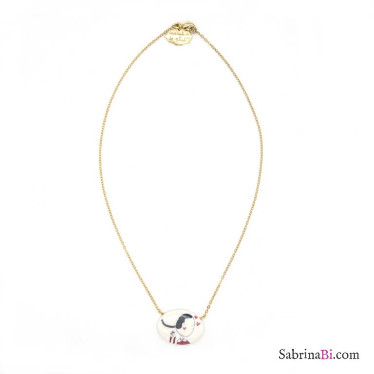 Porcelain Olivia gold-plated short necklace