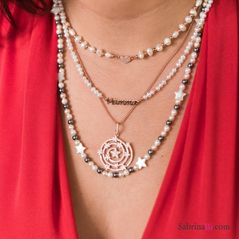 Collana girocollo perle di fiume Mamma