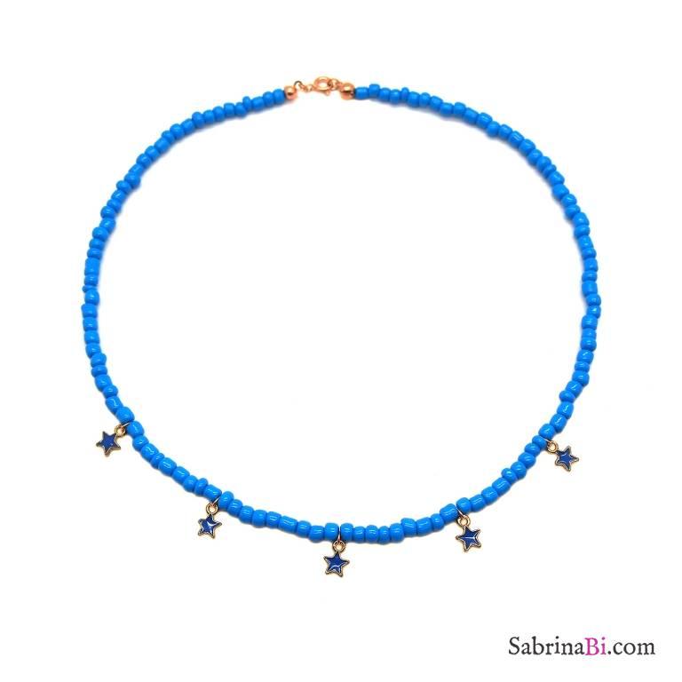 Collana girocollo perle di vetro turchesi e stelline