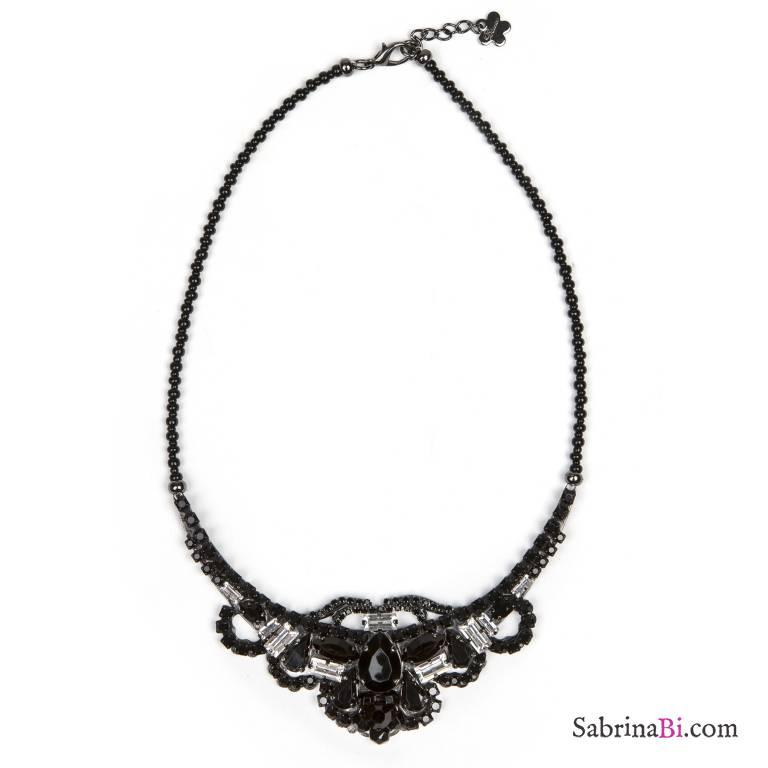 Collana girocollo romantica cristalli neri e trasparenti