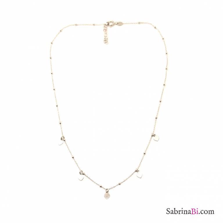 Collana girocollo rosario argento 925 micro cuori