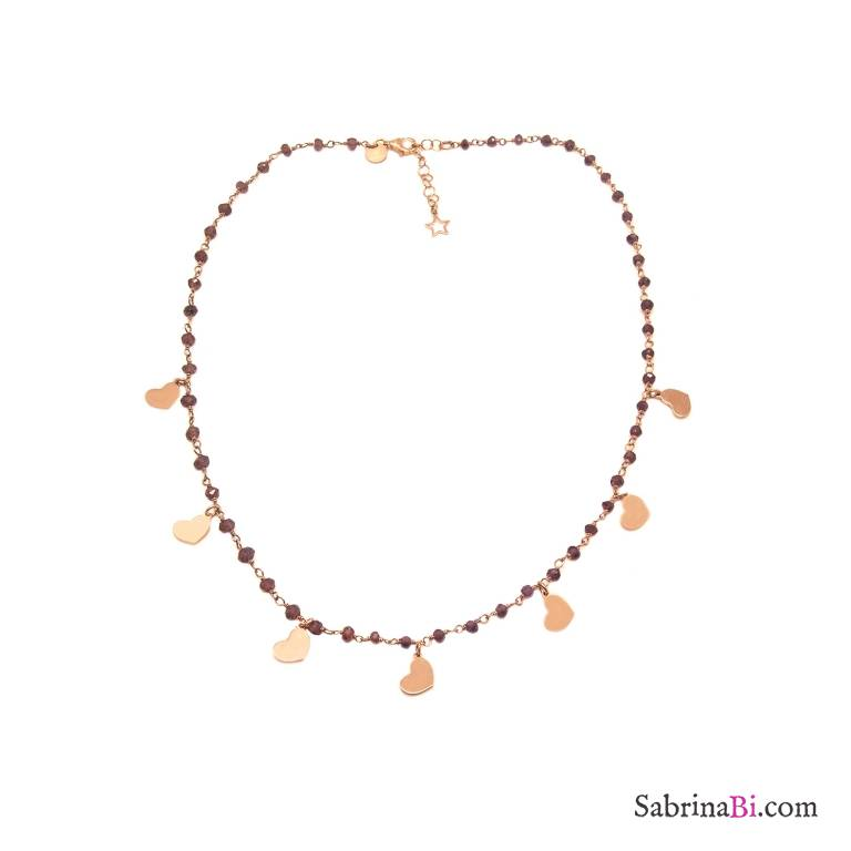 Rose gold sterling silver Garnet rosary chain and hearts necklace