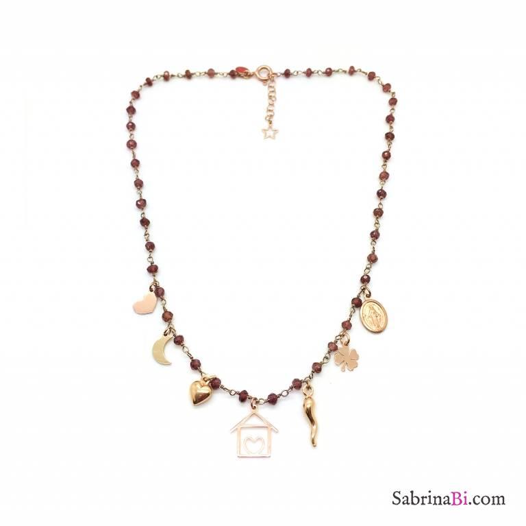 Collana girocollo rosario argento 925 oro rosa Granato rosso e Casetta