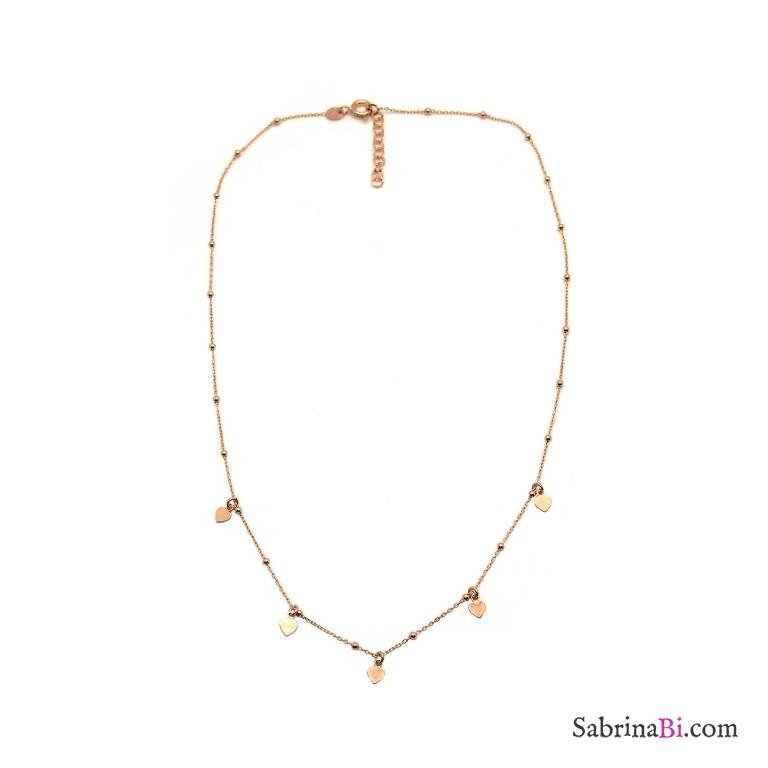 Collana girocollo rosario argento 925 oro rosa micro cuori