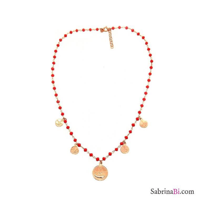 Collana girocollo rosario argento 925 oro rosa pietre rosse e Monete