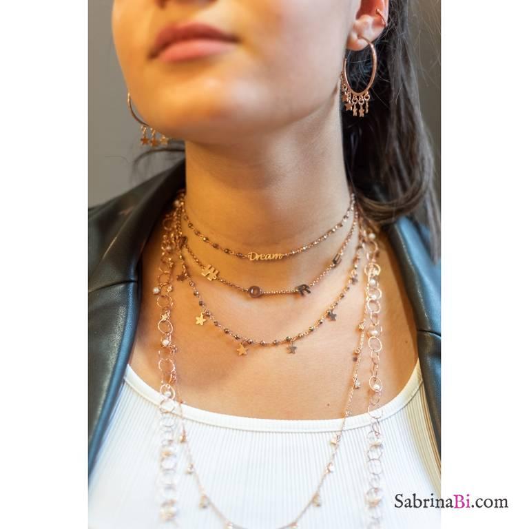 Collana girocollo rosario argento 925 oro rosa Pirite Tutto Stelle
