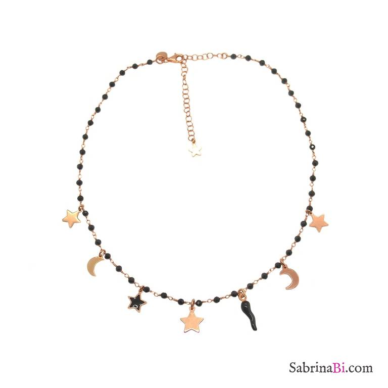 Rose gold sterling silver black Spinels rosary chain and 7 charms necklace