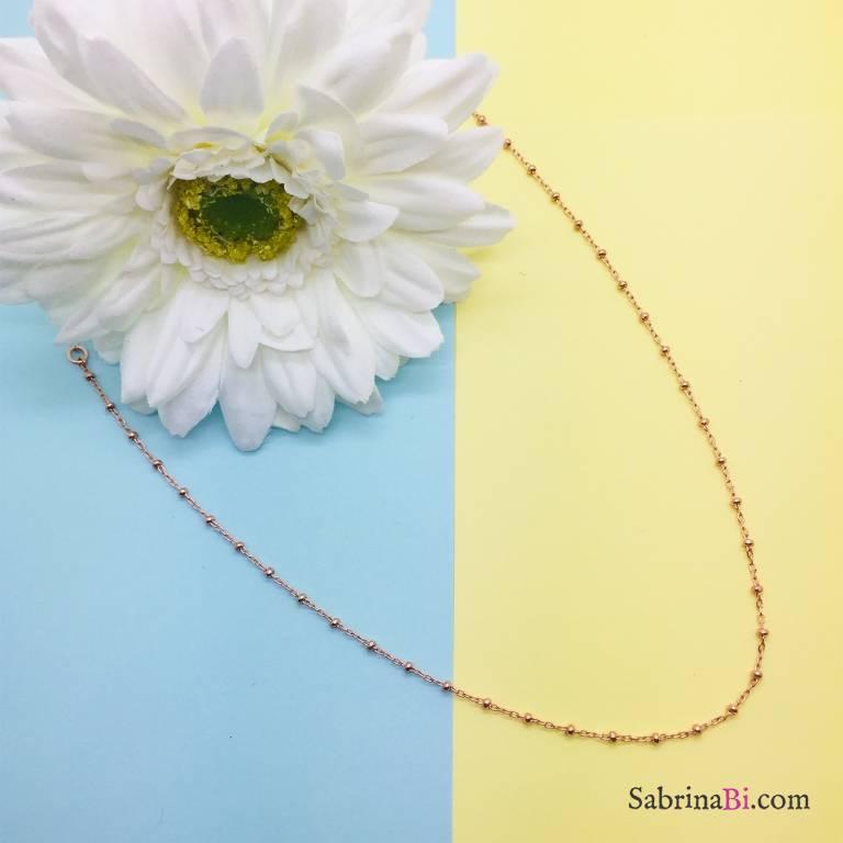 Collana girocollo rosario argento 925 oro rosa
