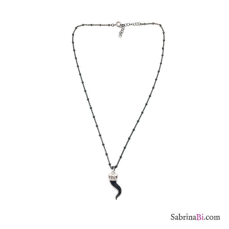 Collana girocollo rosario argento 925 rodiato nero Cornetto grande Zirconi