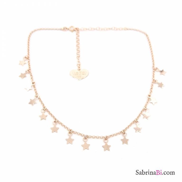 a basso prezzo c912b c021f Collana girocollo/strozzacollo/choker argento 925 oro rosa ciondoli mini  stelle