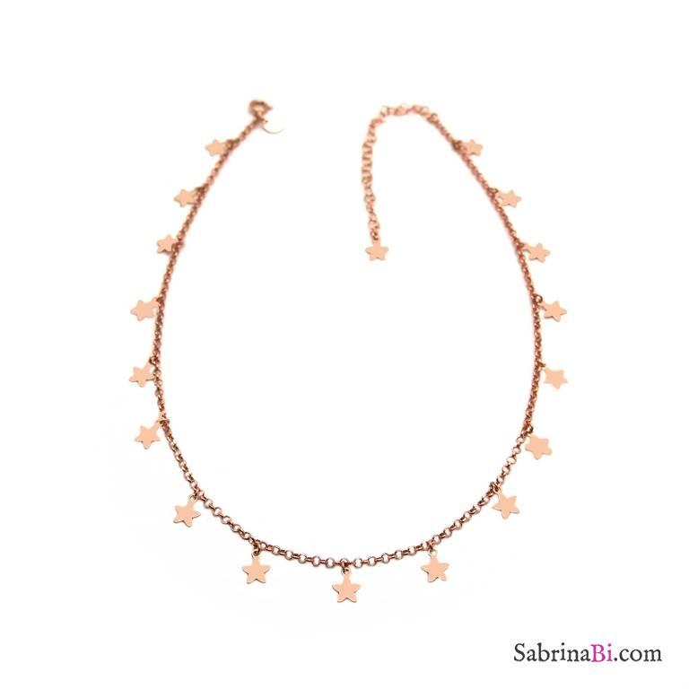 Collana girocollo/ strozzacollo/ choker argento 925 oro rosa micro stelle