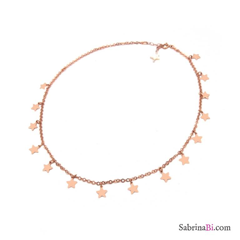 Collana girocollo/ strozzacollo/ choker argento 925 oro rosa mini stelle