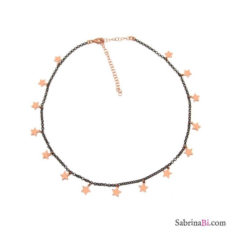 Collana girocollo/ strozzacollo/ choker argento 925 rodiato nero mini stelle