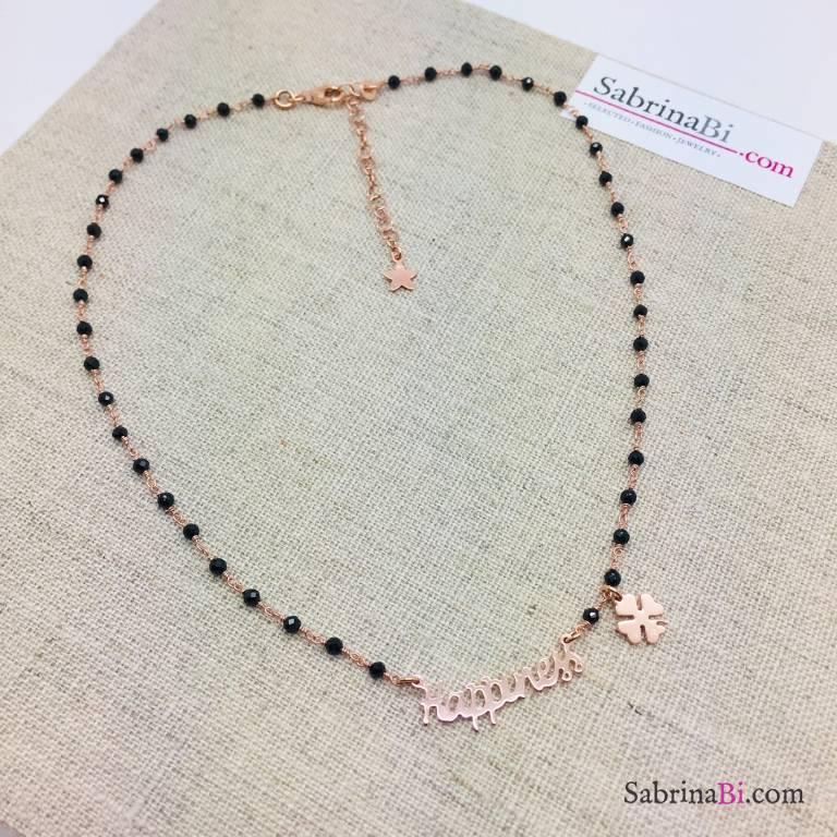 Collana Happiness argento 925 oro rosa rosario Spinelli neri