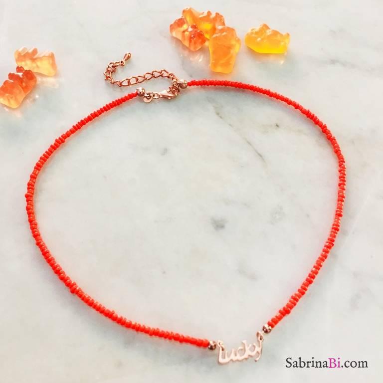 Collana Lucky micro perline vetro arancioni