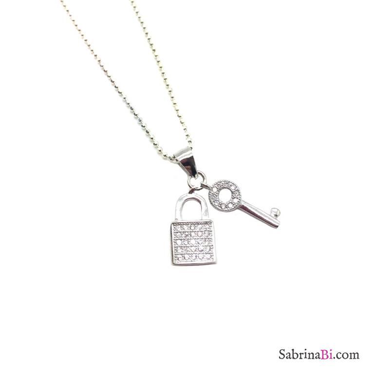 Collana lunga argento 925 Chiave e lucchetto Zirconi