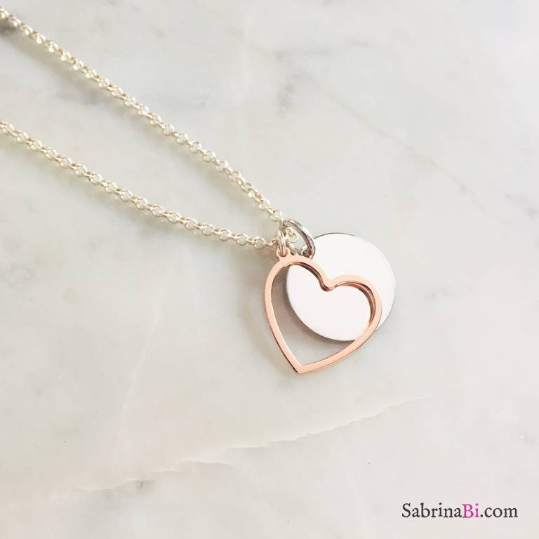Collana lunga argento 925 con disco incidibile e cuore grande