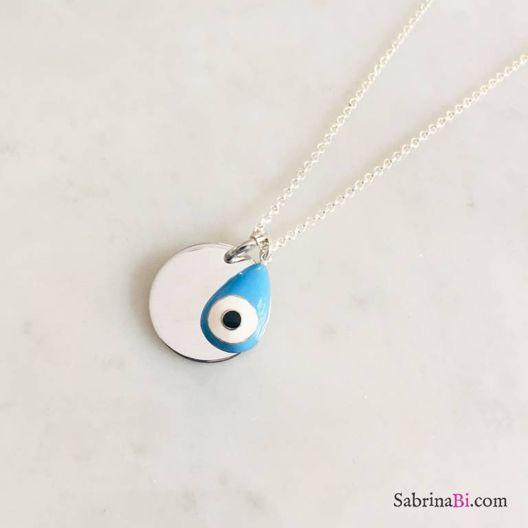Collana lunga argento 925 con disco incidibile e occhio di Allah