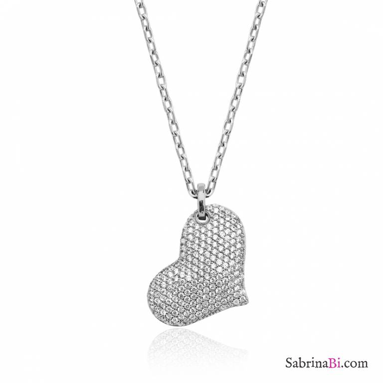 Collana lunga argento 925 grande Cuore bombato brillanti