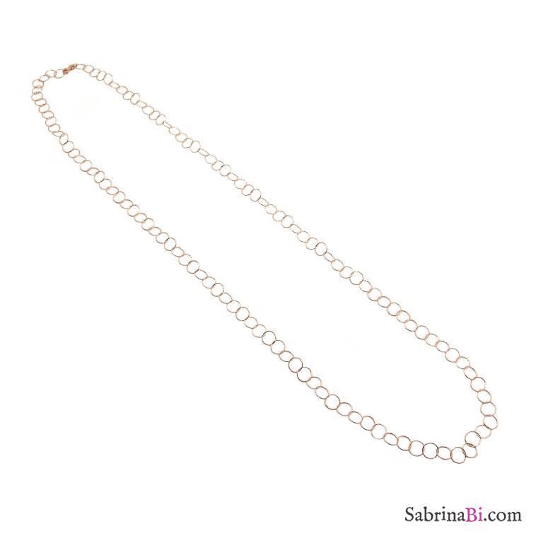 Collana lunga argento 925 oro rosa catena maglia larga anelli