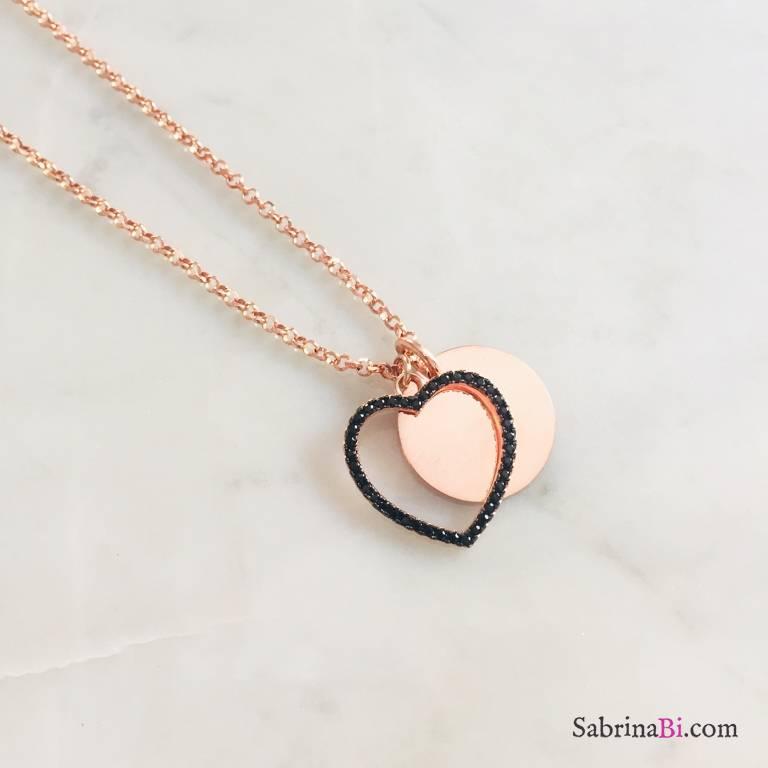 Collana lunga argento 925 oro rosa disco incidibile e maxi cuore Zirconi neri
