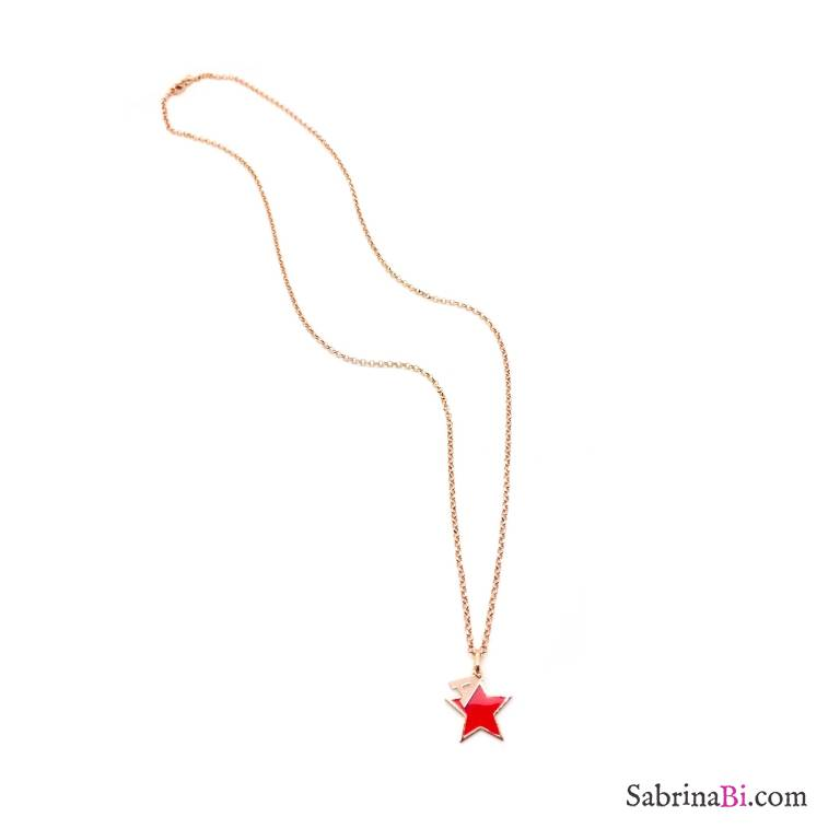 Collana lunga argento 925 oro rosa lettera iniziale nome + stella rossa