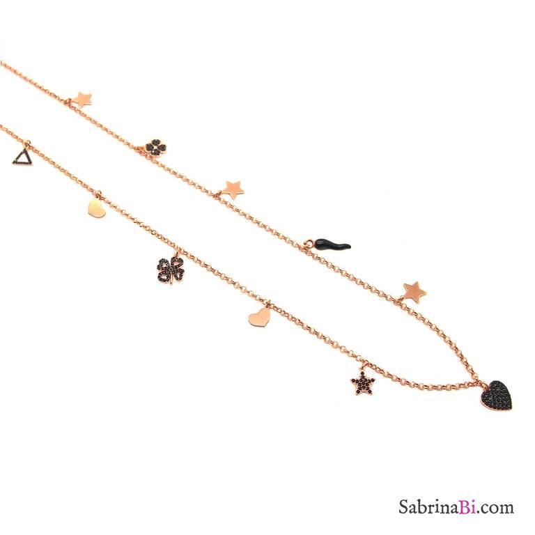Collana lunga argento 925 oro rosa Lucky charms Zirconi neri