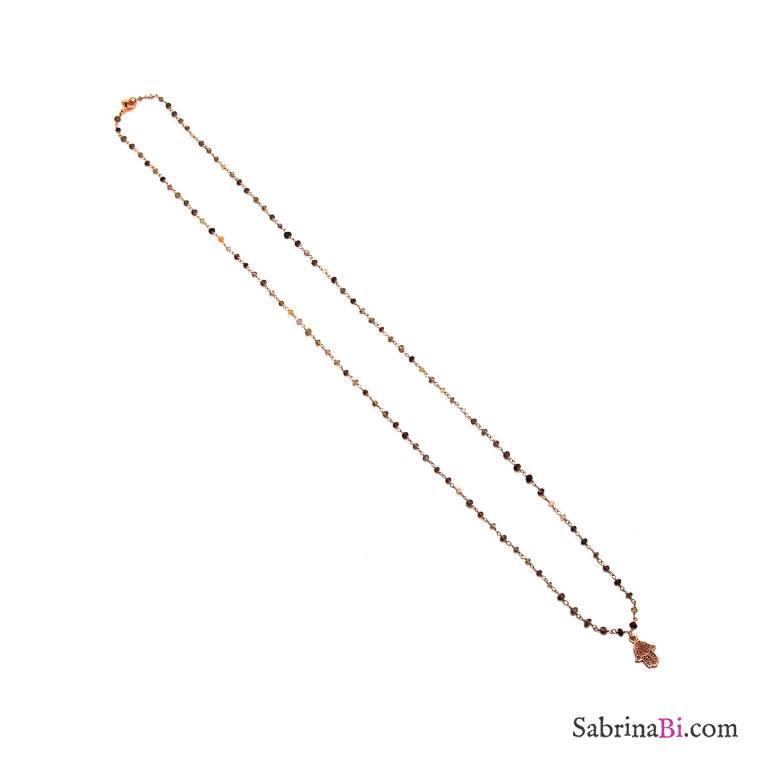 Collana lunga argento 925 oro rosa rosario pietre dure Mano di Fatima