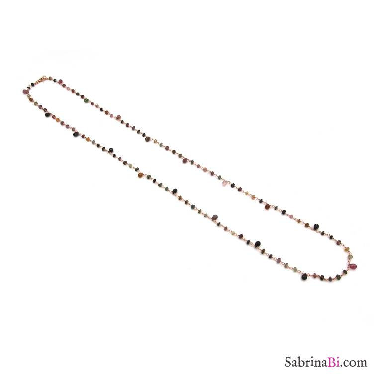 Collana lunga argento 925 oro rosa rosario pietre dure multicolor goccia