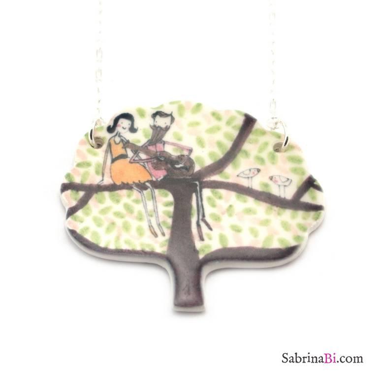 Collana lunga argento albero porcellana innamorati con chitarra
