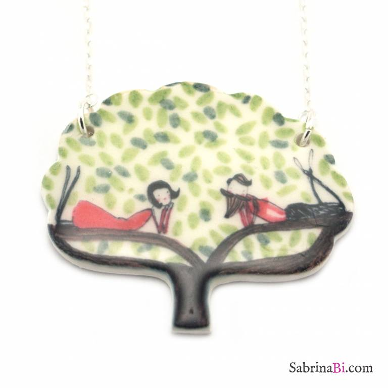Two lovers staring at each other porcelain tree silver long necklace