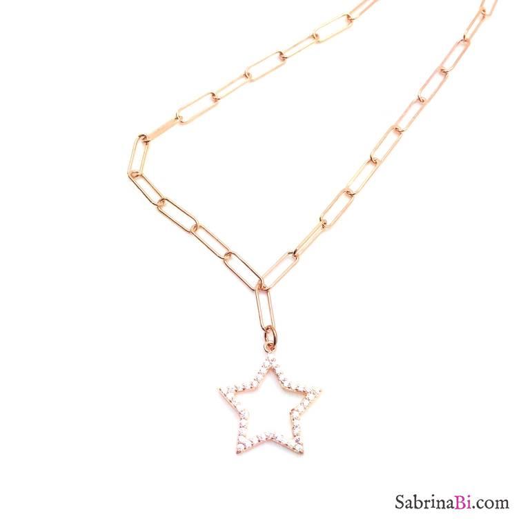Collana lunga catena graffetta piccola argento 925 oro rosa Stella Zirconi