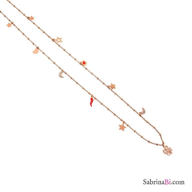 Collana lunga catena rosario argento 925 oro rosa Lucky charms