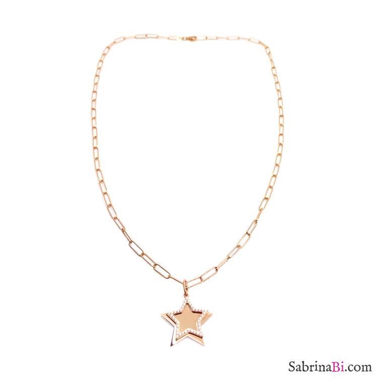 Collana lunga catenella graffetta piccola argento 925 oro rosa Doppia Stella Zirconi