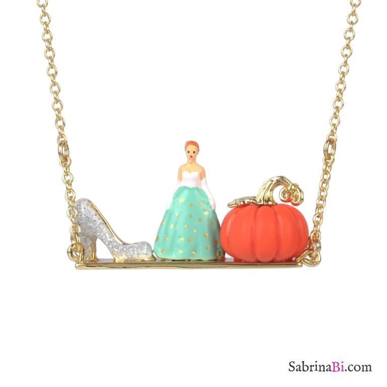 Cinderella glass slipper and pumpkin long gold necklace n2 les cinderella glass slipper and pumpkin long gold necklace aloadofball Gallery