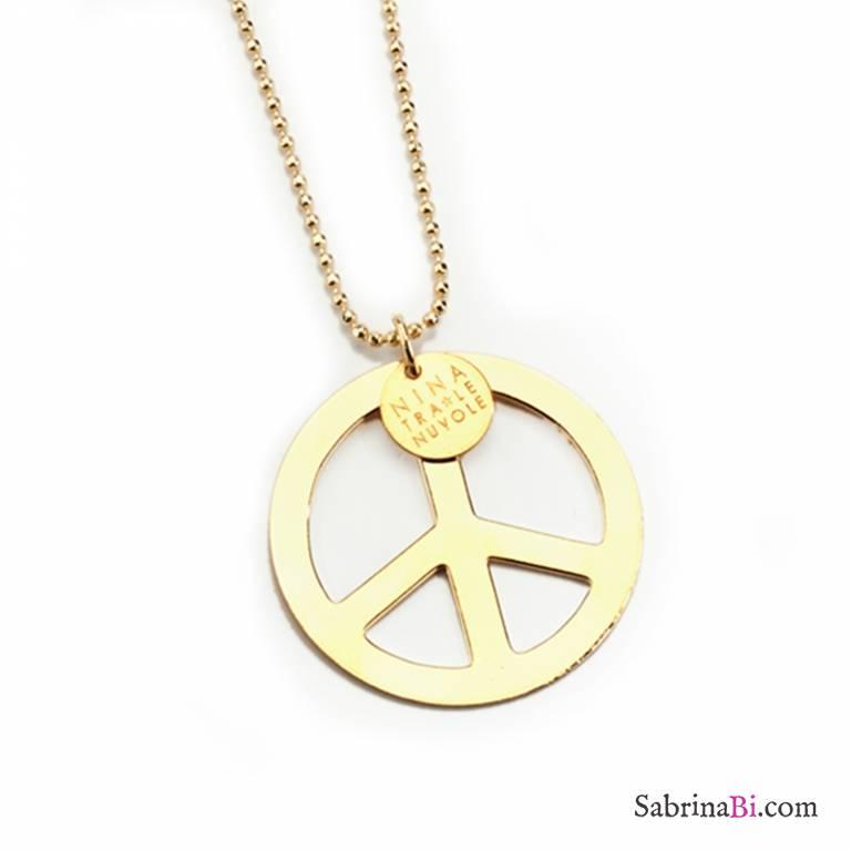 Collana lunga oro pendente simbolo Pace