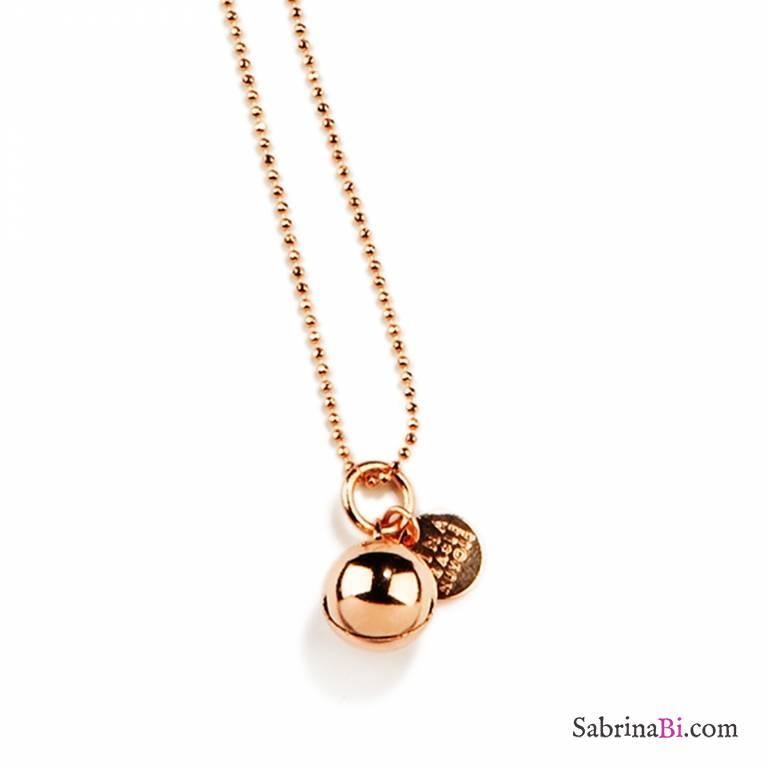negozio online a055a bab72 Collana lunga oro rosa ciondolo sonaglio bola chiama angeli