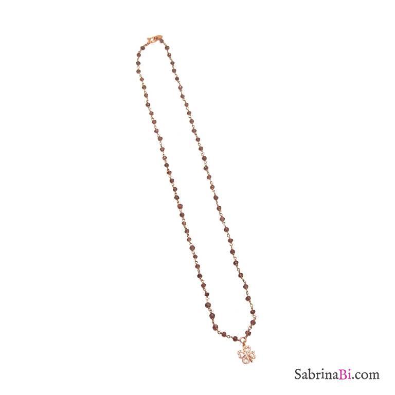 Collana lunga rosario argento 925 oro rosa Granato con quadrifoglio Zirconi