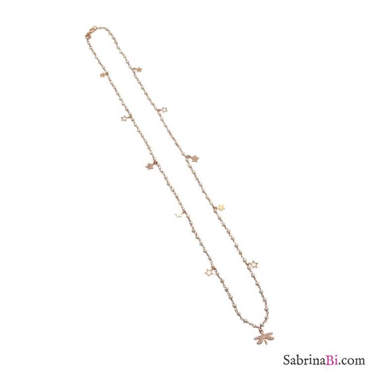 Collana lunga rosario argento 925 oro rosa perle bianche, stelle e libellula