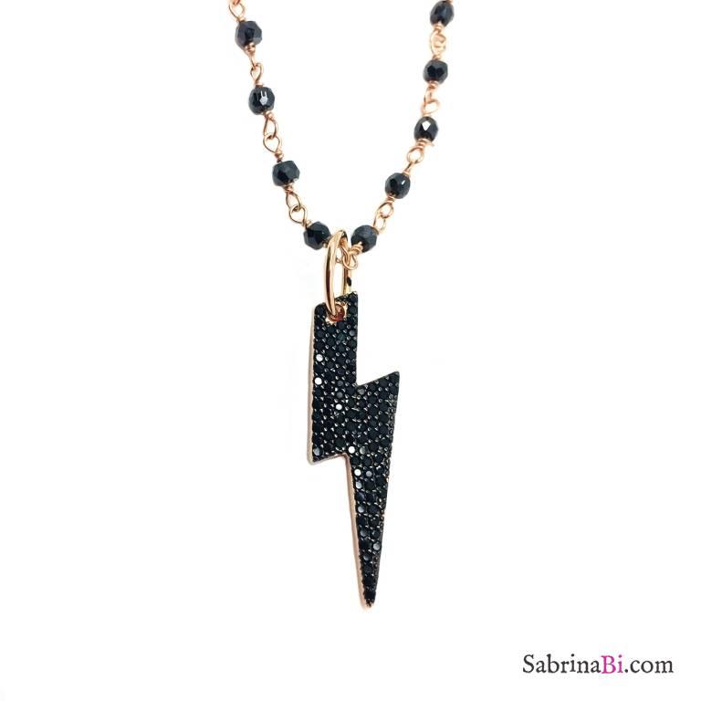 Collana lunga rosario argento 925 oro rosa Spinelli neri Fulmine Zirconi neri