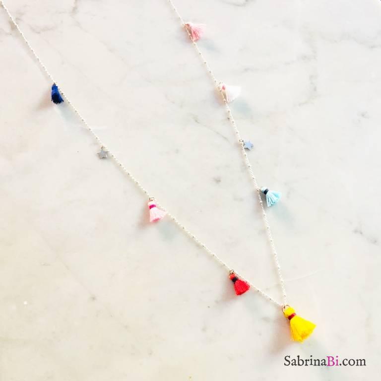 Collana lunga rosario argento 925 stelle e nappine