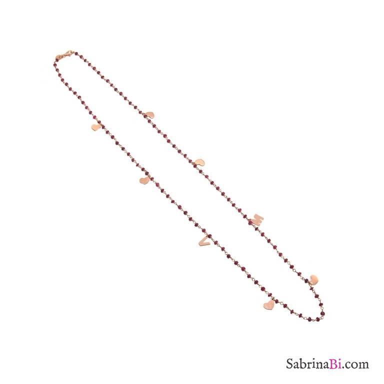 Collana lunga rosario rosso rubino argento 925 oro rosa 2 lettere iniziali e cuori