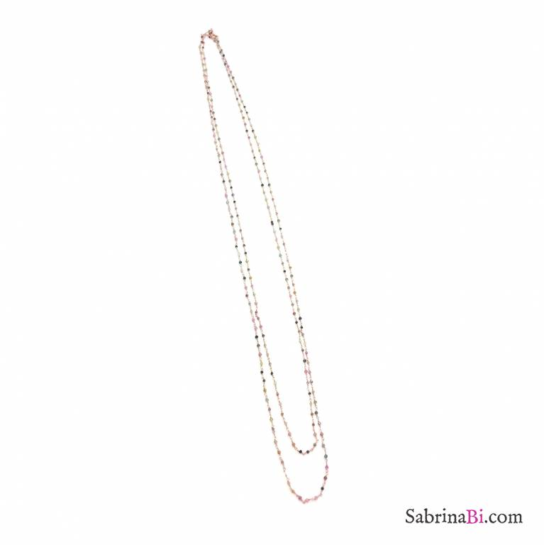 Rose gold sterling silver micro rosary chain multicolor stones long necklace