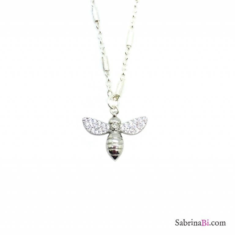 Collana media argento 925 campanella farfalla Zirconi