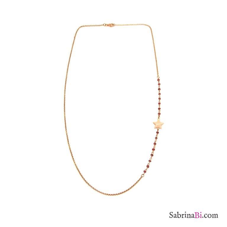 Collana media argento 925 oro rosa inserti rosario radici di Rubino e stella