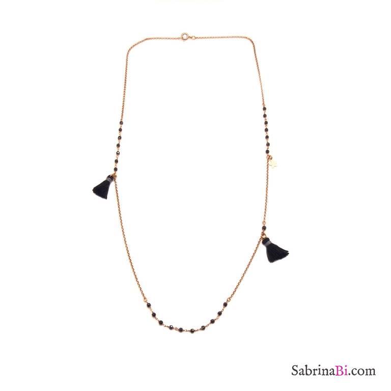 Collana media argento 925 oro rosa inserti rosario Spinelli neri e nappine